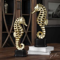 Metallic Sea Horse Sculpture S/2