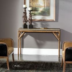 Kanti Metallic Champagne Console Table