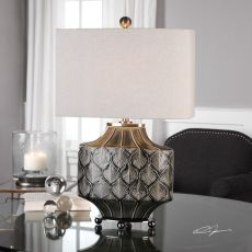 Uttermost Kavala Crackled Charcoal Lamp