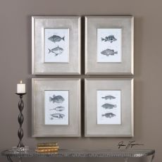 Uttermost Blue Fish Framed Prints Set/4