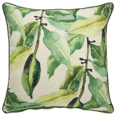 Floral & Leaves Pattern Cotton And Polyester Verdigris Poly Pillow
