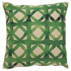 Trellis, Chain & Tiles Pattern Cotton And Polyester Verdigris Down Fill Pillow