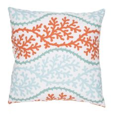 "Tribal Pattern Blue/Orange Polyester Pillow (18""x18"")"