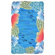 Liora Manne Visions Iv Reef Border Indoor/Outdoor Rug Blue 8' Rd