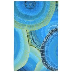 "Liora Manne Visions Iv Cirque Indoor/Outdoor Rug Blue 27""X8'"