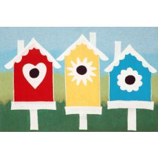 "Liora Manne Visions Iii Birdhouses Indoor/Outdoor Mat - Blue, 20"" By 29.5"""