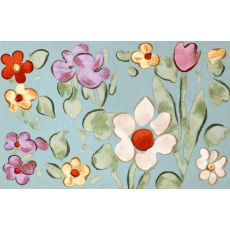 """Liora Manne Visions Iv Watercolor Flower Indoor/Outdoor Mat - Blue, 20"""" By 29.5"""""""