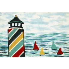"""Liora Manne Visions IV Lighthouse Indoor/Outdoor Mat - Blue, 20"""" by 29.5"""""""