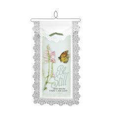 Be Still/Monarch Wall Hanging, White