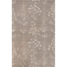 Classic Floral & Leaves Pattern Taupe/Ivory Wool And Art Silk Area Rug (9X12)
