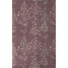 Classic Floral & Leaves Pattern Pink/Ivory Wool And Art Silk Area Rug (9X12)