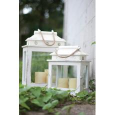 Rectangle Whitewashed Wooden Lanterns (Set Of 2)