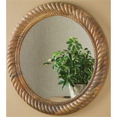 Wood Mirror with Rope Carving