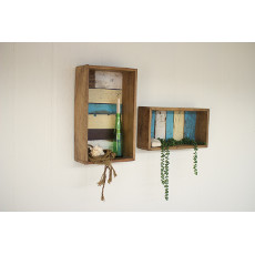 Recycled Hanging Wooden Boxes (set of 2)