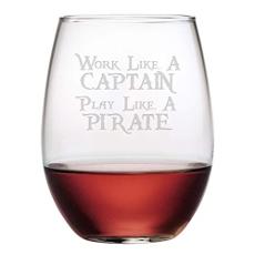 Work Like a Captain Stemless Wine 21oz  S/4