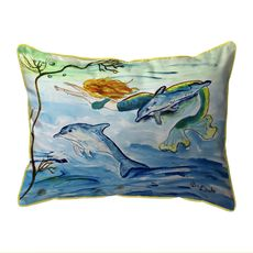 Mermaid & Dolphins Extra Large Zippered Indoor/Outdoor Pillow 20x24