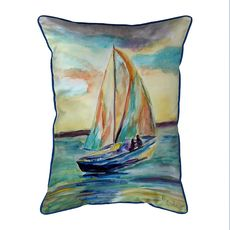Teal Sailboat Extra Large Zippered Indoor/Outdoor Pillow 20x24