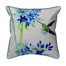 Hummingbird & Blue Flowers  Indoor/Outdoor Extra Large Pillow 22X22