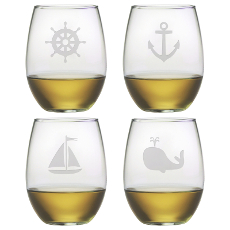 Nautical Icons Etched Stemless Wine Glass Mixed Set of 4