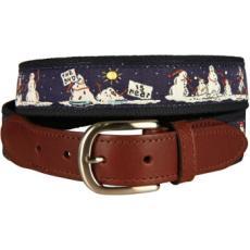 Naughty Snowmen Leather Tab Belt