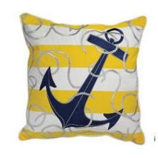 Yellow Stripe Anchor with Rope Indoor Outdoor Pillow