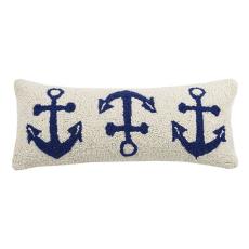 Navy Anchor Trio Hook Pillow
