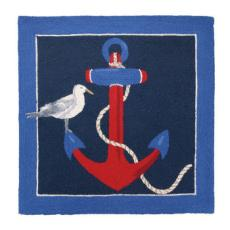 Anchor Square Blue Hook Rug
