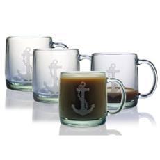Anchor Etched Coffee Mug Glass Set