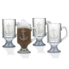Anchor Etched Footed Mug Glass Set