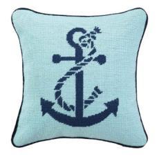 Anchor Blue Green Needlepoint Pillow