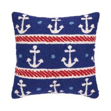Anchor On Blue Throw Pillow