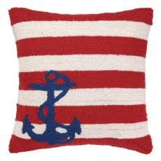Small Anchor On Red Stripe Hook Pillow