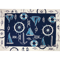 Blue and White Nautical Rug   in    5 Sizes
