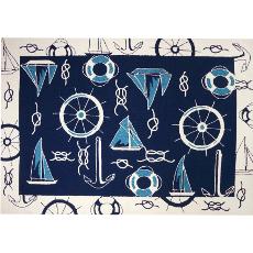 Blue and White Nautical Rug