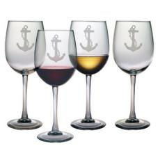 Anchor Etched Stemmed Wine Glass Set
