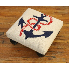 Anchor Hooked Wool Stool