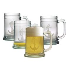 Anchor Etched Tankard Beer Mug Set
