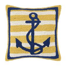 Anchor Yellow Navy Hook Pillow