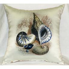Three Shells Antique Print Outdoor Pillow