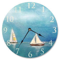 Azure Breeze Sail Boats  Clock