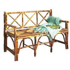 Coastal Rattan Bench With Back