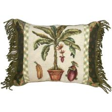 Banana Tree Needlepoint Pillow