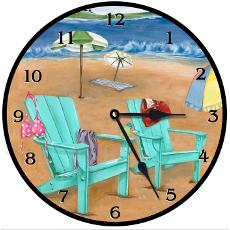 Beach Scene Clock Round