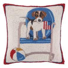 Beach Dog on Chair Hook Pillow