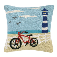 Beach Light Tower and Bike Hook Pillow