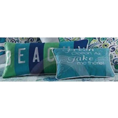Meridian Fresh Ocean Air and Beachy Embroidered Pillows (Set of 2)