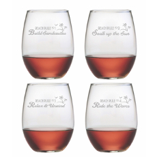 Beach Rules Stemless Wine Glass Assortment S/4