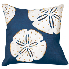 Sand Dollar Beaded Applique Pillow- Navy