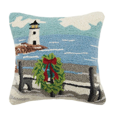 Beach BenchBy The Sea  Hook Pillow
