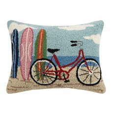 Bike with Surfboards Hook Pillow